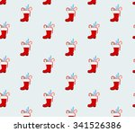 santa clause boot  pattern...   Shutterstock .eps vector #341526386