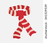 red striped scarf isolated on... | Shutterstock .eps vector #341529539