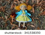 textile handmade doll with... | Shutterstock . vector #341538350