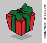 red present with green bow ... | Shutterstock .eps vector #341542928