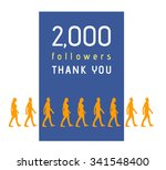 2000 followers milestone with... | Shutterstock .eps vector #341548400