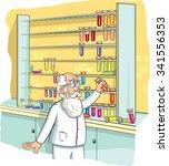 professor arranges test tubes. | Shutterstock .eps vector #341556353