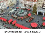 christmas marketplace  in... | Shutterstock . vector #341558210