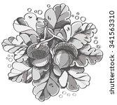 pattern in doodle style  vector ... | Shutterstock .eps vector #341563310