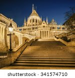 fishermans bastion at night in...
