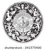 faenza majolica  fruits dish ... | Shutterstock .eps vector #341575400