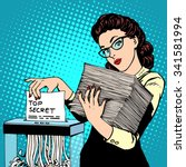 paper shredder top secret... | Shutterstock .eps vector #341581994