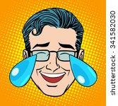 retro emoji tears joy man face... | Shutterstock .eps vector #341582030
