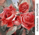 red roses motif hand painted... | Shutterstock . vector #341591648