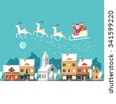 santa claus on sleigh and his... | Shutterstock .eps vector #341599220