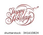 happy holidays lettering in...