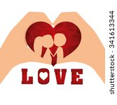 love concept with cute icons... | Shutterstock .eps vector #341613344