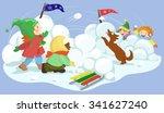 winter fun. children playing... | Shutterstock .eps vector #341627240