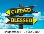 cursed   blessed signpost with... | Shutterstock . vector #341659100