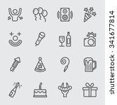 party and birthday line icon | Shutterstock .eps vector #341677814