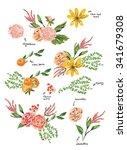 hand drawn flowers    Shutterstock .eps vector #341679308