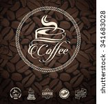 vector coffee labels isolated... | Shutterstock .eps vector #341683028