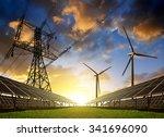 solar panels with wind turbines ... | Shutterstock . vector #341696090