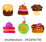 hand painted watercolor sweets. ... | Shutterstock . vector #341696750