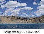 mountains and pangong tso  lake ... | Shutterstock . vector #341698454