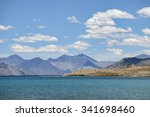 mountains and pangong tso  lake ... | Shutterstock . vector #341698460