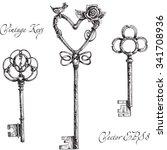 vintage keys.  hand made... | Shutterstock .eps vector #341708936