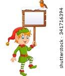cartoon funny elf boy holding... | Shutterstock .eps vector #341716394