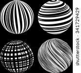 white striped spheres on black... | Shutterstock .eps vector #341729429