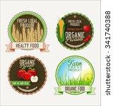 set of fresh organic labels | Shutterstock .eps vector #341740388