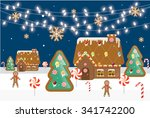 gingerbread village vector... | Shutterstock .eps vector #341742200