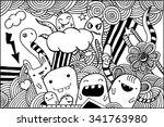 vector doodle monsters hand... | Shutterstock .eps vector #341763980