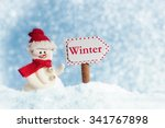Snowman With Winter Signpost ...