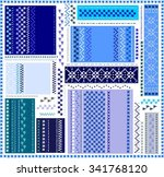 blue white grey folk vintage... | Shutterstock .eps vector #341768120