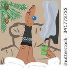funny winter holiday... | Shutterstock .eps vector #341773733