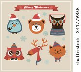 cute christmas fashion hipster... | Shutterstock .eps vector #341779868