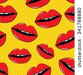 lips seamless pattern...   Shutterstock . vector #341788880