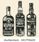 three bottles with strong... | Shutterstock .eps vector #341793620