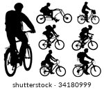 cycling people. collection of... | Shutterstock .eps vector #34180999