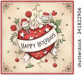 hand drawn christmas card with... | Shutterstock .eps vector #341822906