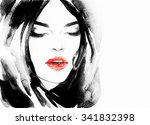 beautiful woman face. abstract... | Shutterstock . vector #341832398