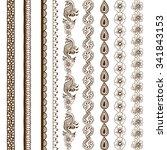 henna tattoo seamless borders.... | Shutterstock .eps vector #341843153