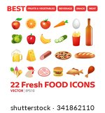 set of fresh food icons in... | Shutterstock .eps vector #341862110