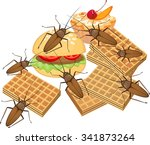food and cockroach | Shutterstock .eps vector #341873264
