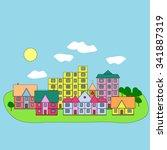 urban landscape. flat design...   Shutterstock .eps vector #341887319