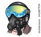 vector color pilot illustration   Shutterstock .eps vector #341887934