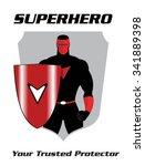 superhero. superhero holding a... | Shutterstock .eps vector #341889398