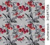 watercolor garden ripe cherries ... | Shutterstock . vector #341897156