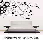 wall decoration with sticker | Shutterstock .eps vector #341899988