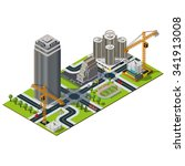isometric city map. bank street ... | Shutterstock . vector #341913008