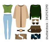 set of  trendy women's clothes. ... | Shutterstock .eps vector #341919290